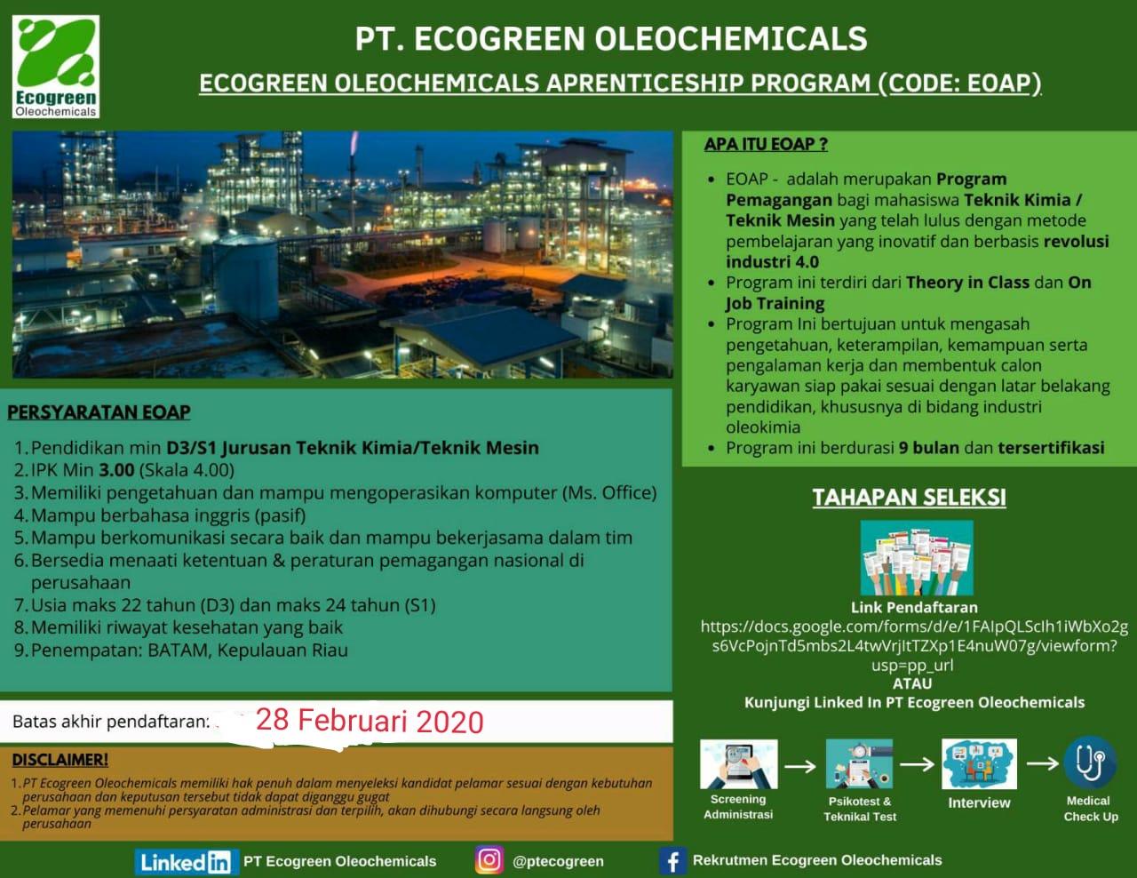 Lowongan kerja Magang PT Ecogreen