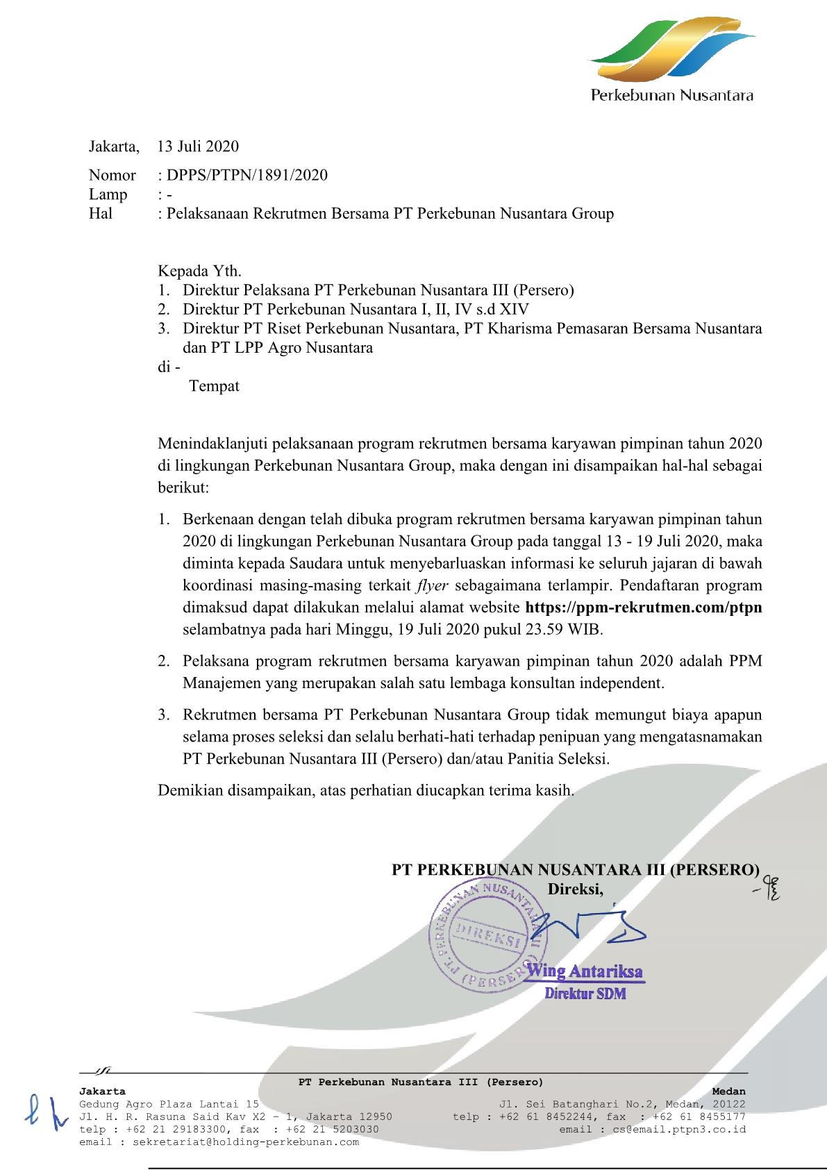 Rekrutmen Bersama PT Perkebunan Nusantara Group Sampai Tgl 19 Juli 2020