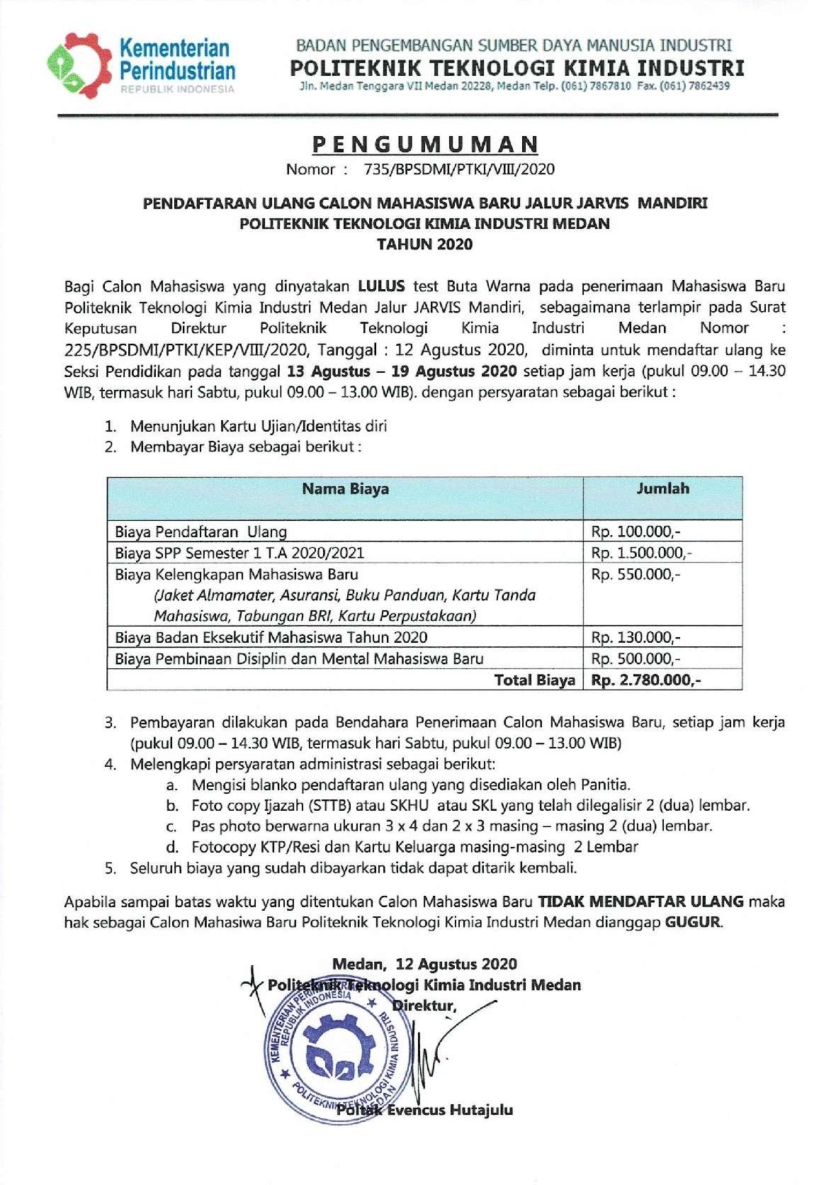 PENGUMUMAN DAFTAR ULANG JARVIS MANDIRI 20201