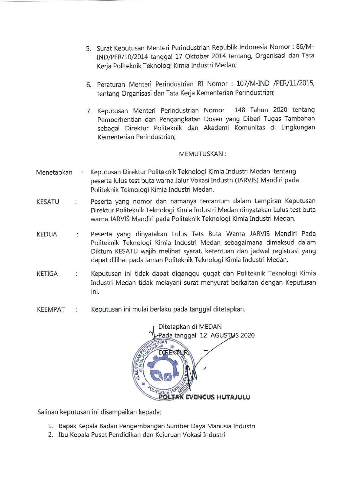 PENGUMUMAN HASIL TEST BUTA WARNA JM 20202