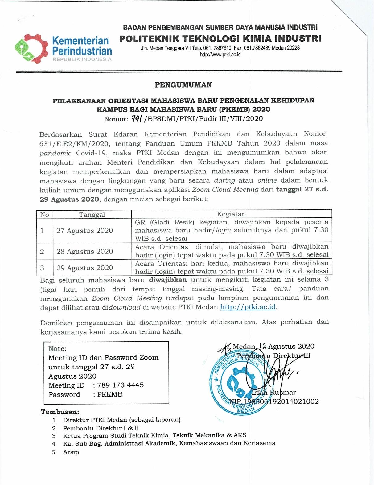 Pengumuman Panduan Orientasi Online (PKKMB) PTKI Medan dan Manual Book Zoom1